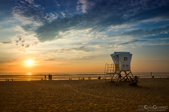 Lifeguard Tower 21 on Mission Beach at sunset